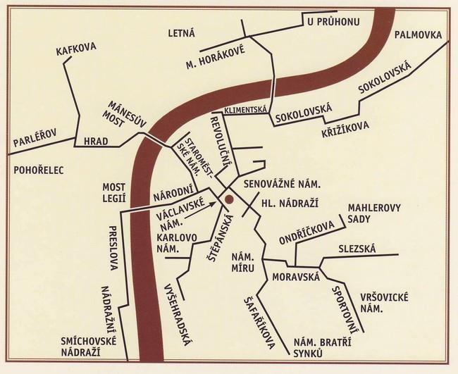 Mapa esquemático del sistema neumático postal de Praga. Imagen: Atlas Obscura.