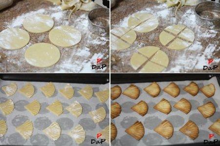 Elaboración de las pastas con forma de abanico