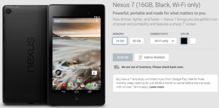 Las versiones del Nexus 7 modelo 2013 están agotadas en Estados Unidos