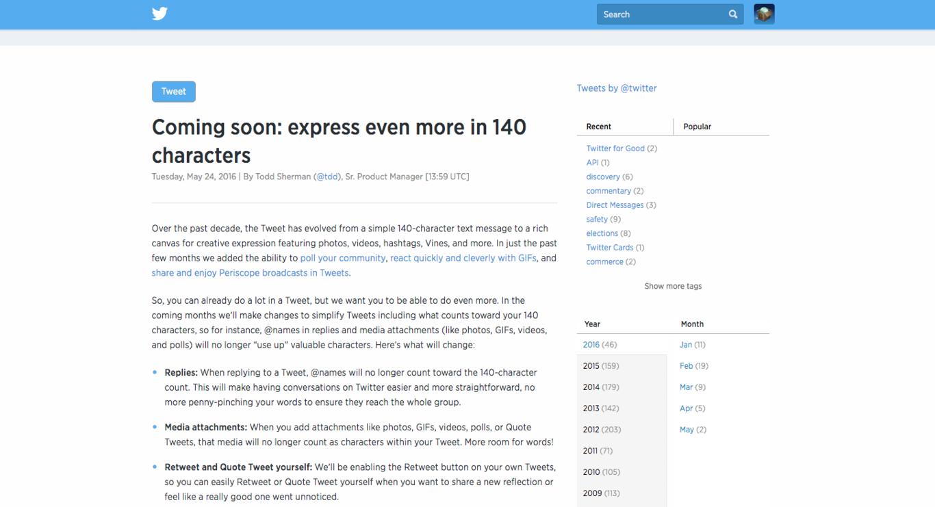 Aumenta el número  de caracteres en Twitter