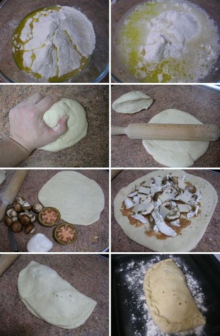 Elaboración de calzone o pizza envuelta