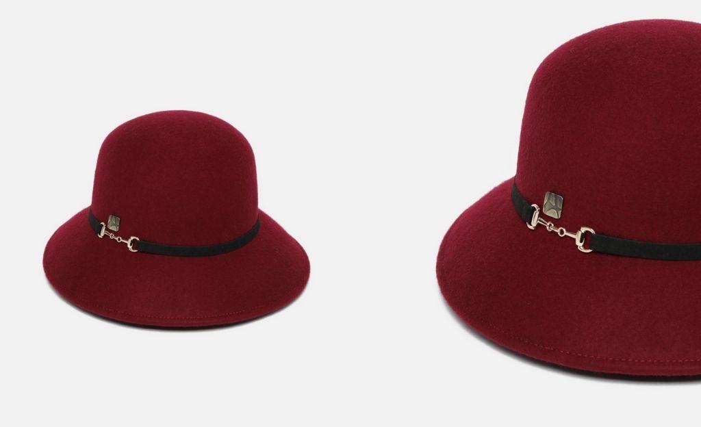 Sombrero cloché de lana en burdeos con cinta decorativa