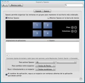 Mejora de Spaces en Mac OS X 10.5.3