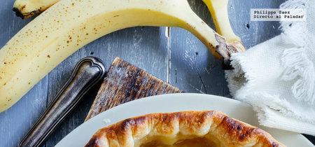 Tarta de manzana y plátano. Receta fácil de postre