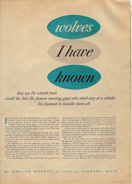 Artículo escrito por Marilyn Monroe en 1953.