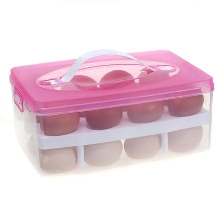 TUKA Huevera portátil Doble Capas por 24 huevos, grande plástico Higiénico contenedor para nevera, cocina, al aire libre, organizador almacenamiento de huevos, Rosado, TKD6101-pink
