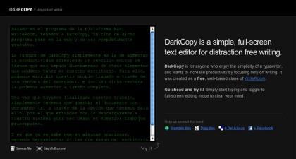 DarkCopy, editor de textos basado en la web y sin distracciones