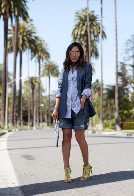 Aimee Song Striped Shirt Denim Shorts