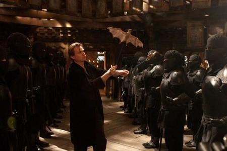 Nolan en el rodaje de Batman Begins