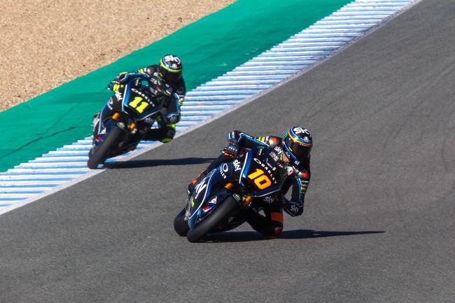 Luca Marini bate el récord del circuito de Jerez en los test de Moto2, Álex Márquez tercero