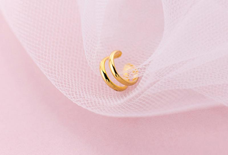 100% Plata de Ley 925 oreja Clip en pendientes para mujeres Color oro doble capa sin piercing oreja Clip pendiente joyería