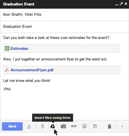 Gmail integra Google Drive para enviar archivos de gran tamaño y compartirlos cómodamente con varias personas