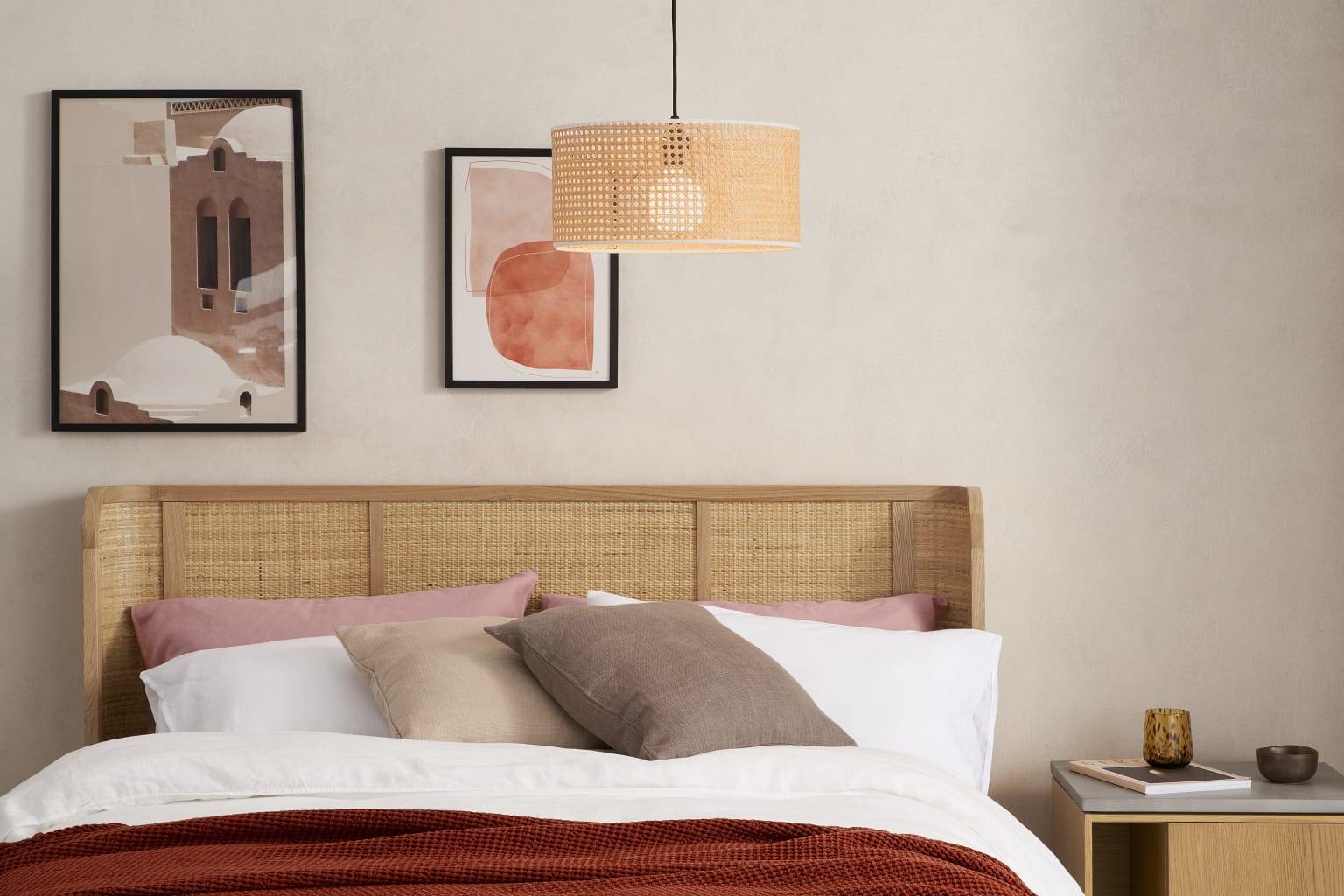 Lámpara de mimbre para el dormitorio