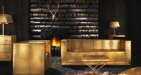 Tocado por Midas, un salón dorado de piel de cocodrilo