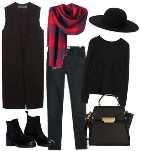 Outfit Chaleco Negro