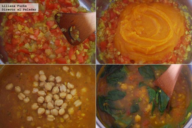 Sopa cremosa de calabaza al curry con garbanzos y espinacas
