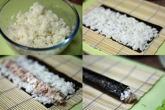 Sushi de atún, cebolla dulce y crema de queso. Pasos