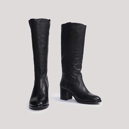 Bota campera de piel negra vintage - Valentina