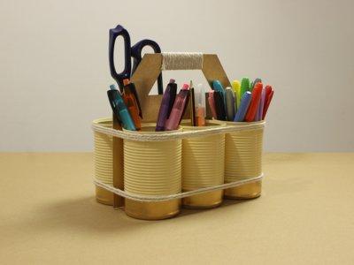 Ideas para comenzar el curso: Cómo crear un organizador DIY con latas recicladas