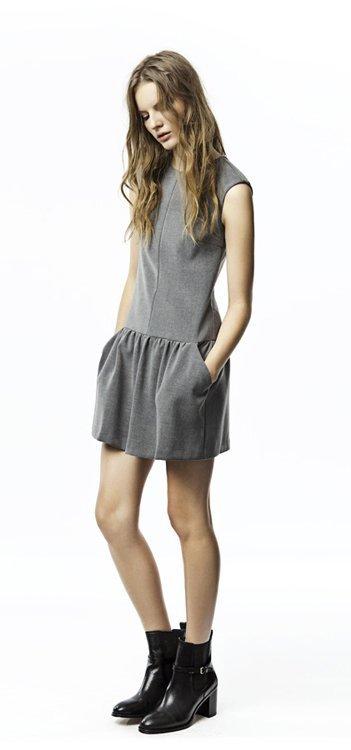 Gris vestido Zara Trafaluc colección octubre