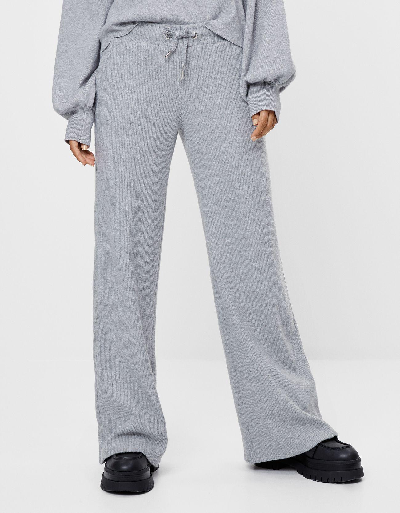 Pantalón campana de punto con cintura elástica
