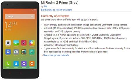Xiaomi Redmi 2 Prime Specs Leak
