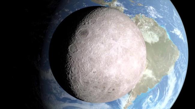 Una vista desde la cara oculta de la Luna, cortesía de la NASA