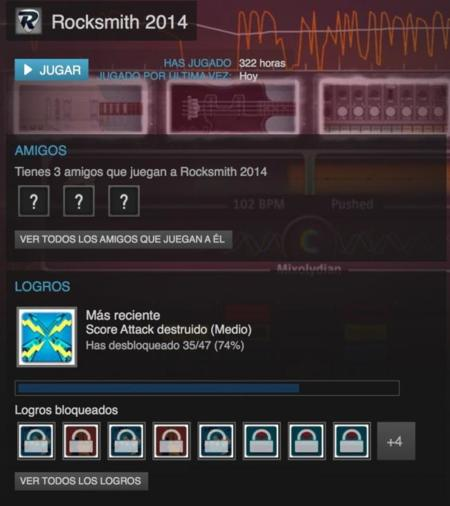 Captura de pantallas de Steam en el que se vé el número de horas que llevo y los logros