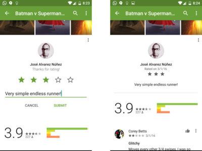 Google Play cambia la interfaz de puntuación y comentarios