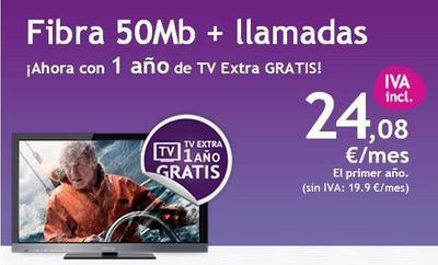 Continúa la pelea por la TV: un año del pack TV Extra gratis al contratar los 50 Mbps de ONO