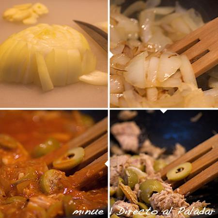 pasta con atún y tomate - preparación