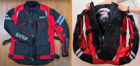 Esta chaqueta de moto se convierte en mochila para que puedas llevar el casco, los guantes y mucho más