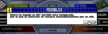 PC Fútbol 5.0 Mensaje emergente: