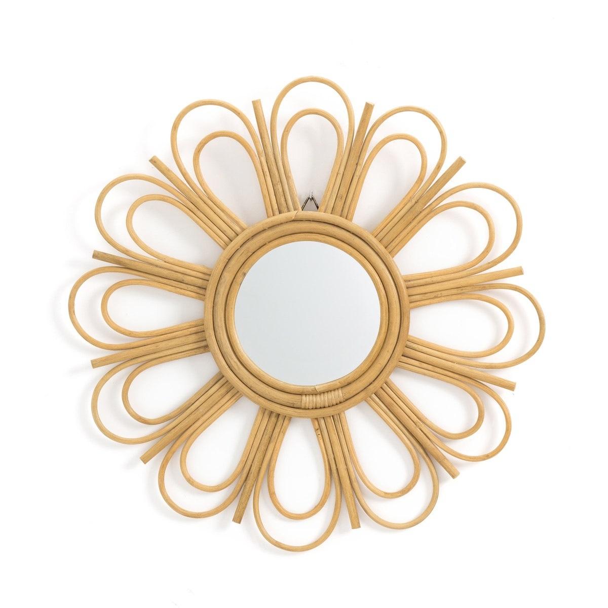 Espejo de ratán con forma de flor