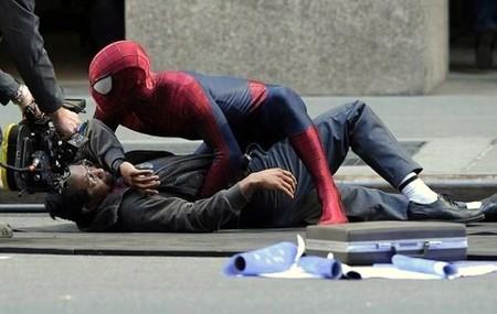 Una imagen del rodaje de The Amazing Spider-Man 2