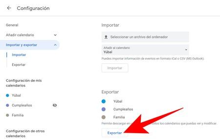 Exportar Calendario