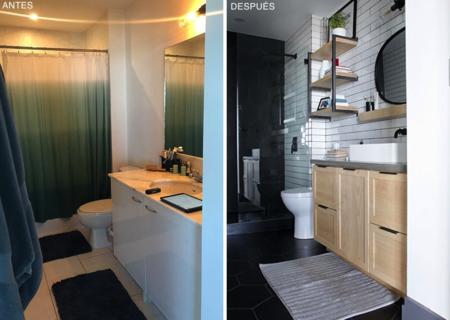Antes y después: un baño renovado con detalles de estilo industrial