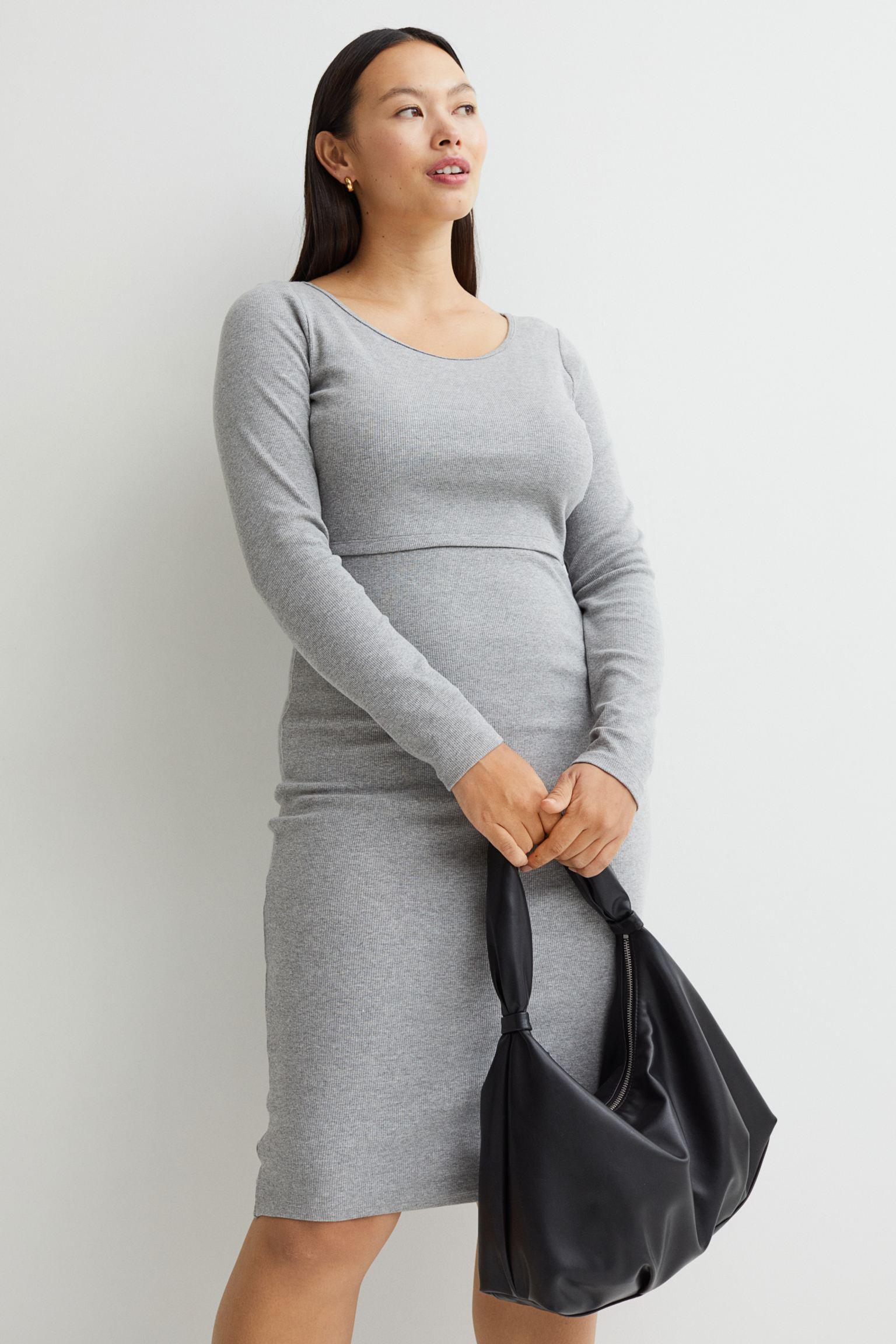 Vestido entallado en punto de canalé de mezcla de viscosa y algodón orgánico