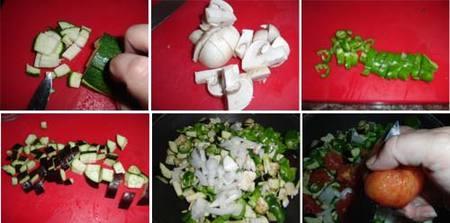 Preparación del cous-cous de verduras