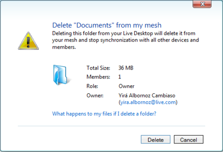 Eliminacion de archivos y carpetas en Live Mesh