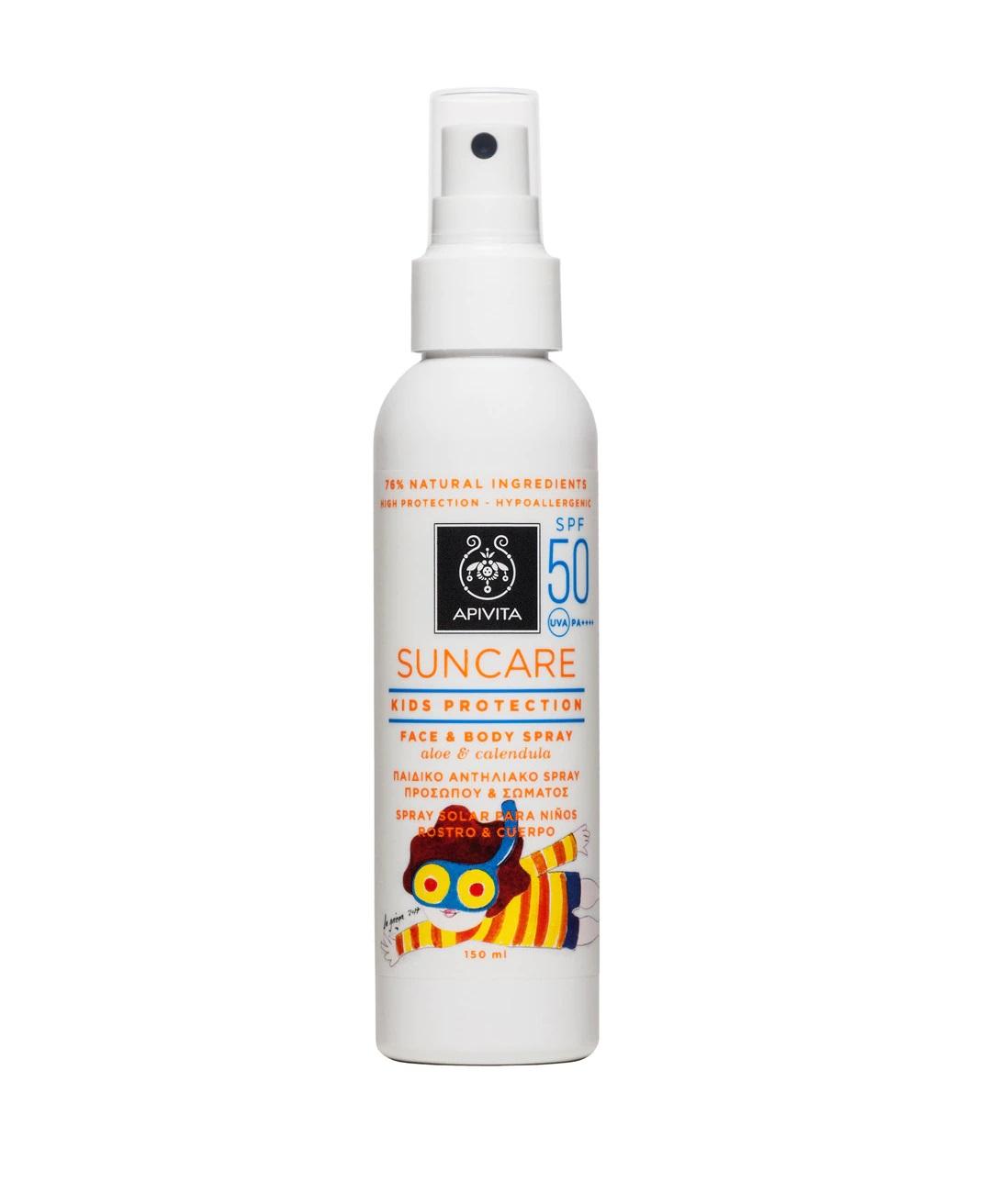 Spray solar infantil para cuerpo y cara con fotoprotección 50 de Apivita