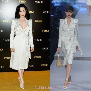 Dita Von Teese de Dior después de la gala amFAR