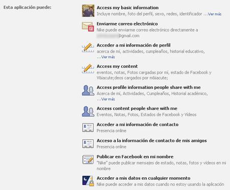 Permisos de las aplicaciones que se autentican mediante Facebook