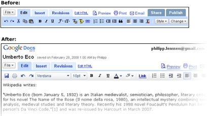 Rediseño en Google Docs