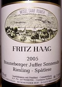 Fritz Haag Juffer Sonnenuhr Riesling Spätlese 2005