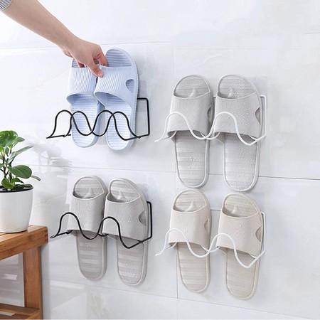 Cabilock 1 Pc Zapatillas De Montaje En Pared Colgador De Estante Organizador De Almacenamiento Organizador De Zapatos Creativo De Doble Capa Para Sala De Bano