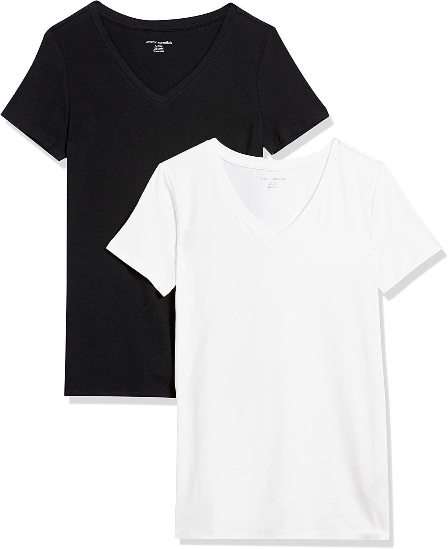 Amazon Essentials Mujer Camiseta de cuello en V de manga corta, Pack de 2