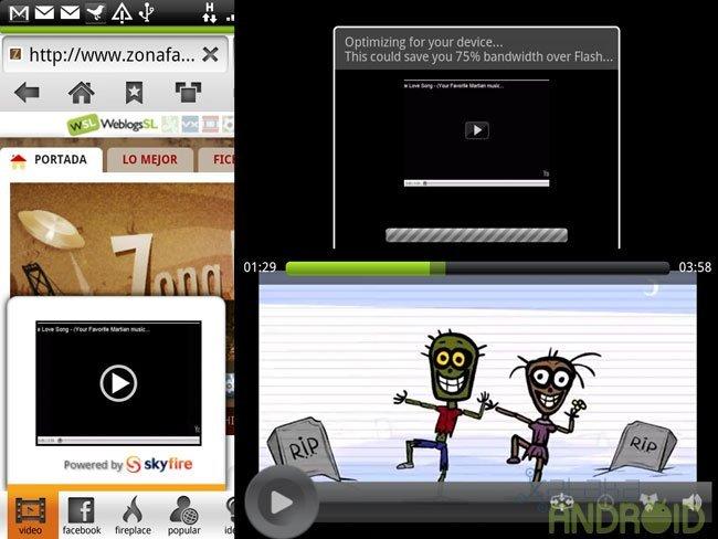 Reproducción de vídeo en HTML5 en Skyfire