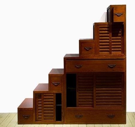 Muebles contenedores con forma de escalera