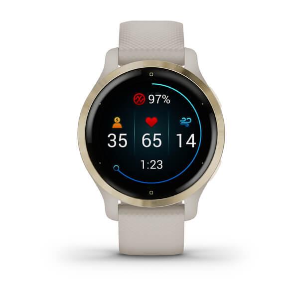 "Garmin Venu 2S Beige - 1.2"" AMOLED, 40mm, Garmin Pay, Sensores ABC, GPS, ANT+BT+WiFi"